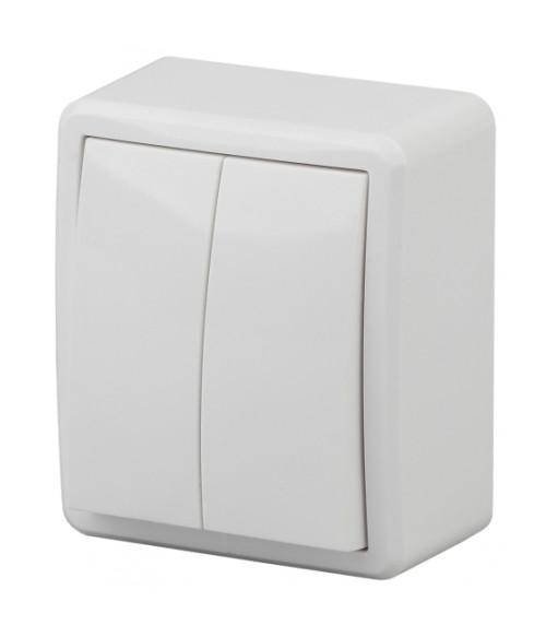 Выключатель двойной, 10АХ-250В, ОУ, Эра Эксперт, Al+Cu, белый 11А-1204-01