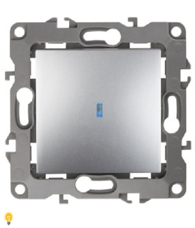 Выключатель с подсветкой, 10АХ-250В, Эра12, алюминий 12-1102-03