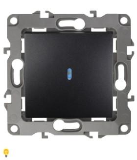 Выключатель с подсветкой, 10АХ-250В, Эра12, антрацит 12-1102-05