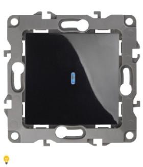 Выключатель с подсветкой, 10АХ-250В, Эра12, чёрный 12-1102-06