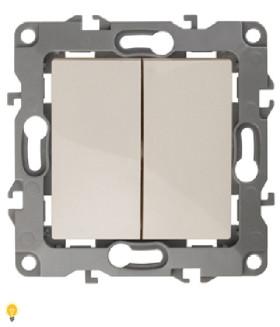 Выключатель двойной, 10АХ-250В, Эра12, слоновая кость 12-1104-02