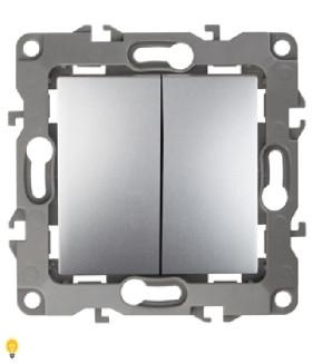 Выключатель двойной, 10АХ-250В, Эра12, алюминий 12-1104-03
