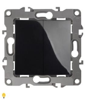 Выключатель двойной, 10АХ-250В, Эра12, чёрный 12-1104-06