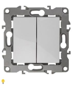 Выключатель двойной, 10АХ-250В, без м.лапок, Эра12, белый 12-1004-01