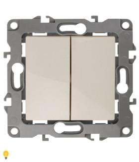 Выключатель двойной, 10АХ-250В, без м.лапок, Эра12, слоновая кость 12-1004-02