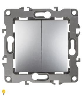 Выключатель двойной, 10АХ-250В, без м.лапок, Эра12, алюминий 12-1004-03