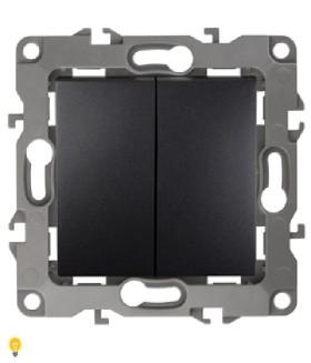 Выключатель двойной, 10АХ-250В, без м.лапок, Эра12, антрацит 12-1004-05