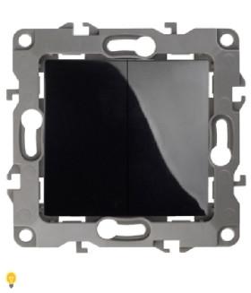 Выключатель двойной, 10АХ-250В, без м.лапок, Эра12, чёрный 12-1004-06