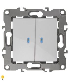 Выключатель двойной с подсветкой, 10АХ-250В, Эра12, белый 12-1105-01