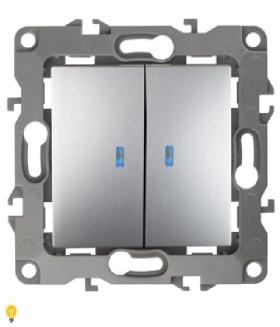 Выключатель двойной с подсветкой, 10АХ-250В, Эра12, алюминий 12-1105-03