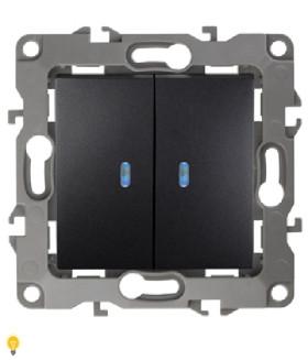 Выключатель двойной с подсветкой, 10АХ-250В, Эра12, антрацит 12-1105-05