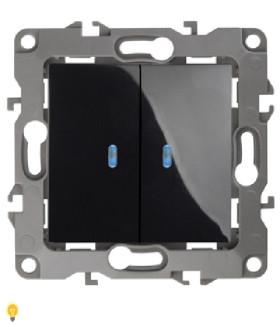 Выключатель двойной с подсветкой, 10АХ-250В, Эра12, чёрный 12-1105-06