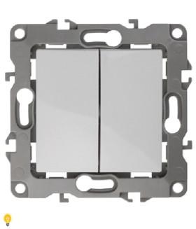 Переключатель двойной, 10АХ-250В, Эра12, белый 12-1106-01