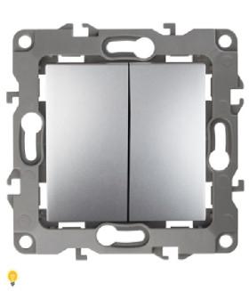 Переключатель двойной, 10АХ-250В, Эра12, алюминий 12-1106-03