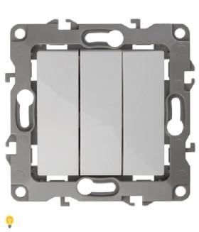 Выключатель тройной, 10АХ-250В, Эра12, белый 12-1107-01