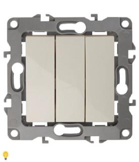 Выключатель тройной, 10АХ-250В, Эра12, слоновая кость 12-1107-02