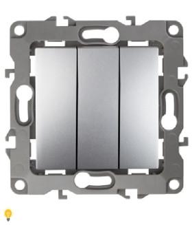 Выключатель тройной, 10АХ-250В, Эра12, алюминий 12-1107-03