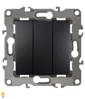 Выключатель тройной, 10АХ-250В, Эра12, антрацит 12-1107-05