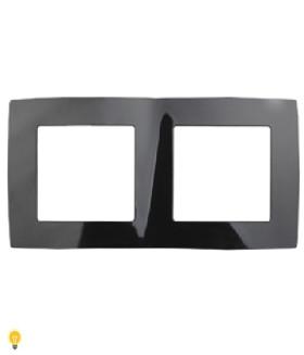 Рамка на 2 поста, Эра12, чёрный 12-5002-06