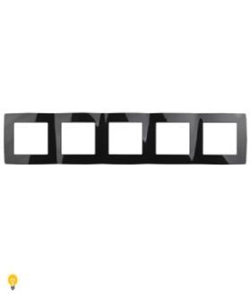 Рамка на 5 постов, Эра12, чёрный 12-5005-06