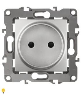 Розетка 2P, 16АХ-250В, Эра12, алюминий 12-2105-03