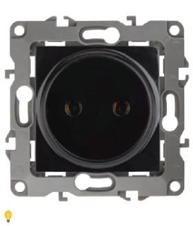 Розетка 2P, 16АХ-250В, Эра12, чёрный 12-2105-06