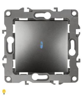 Выключатель с подсветкой, 10АХ-250В, Эра12, графит 12-1102-12