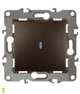 Выключатель с подсветкой, 10АХ-250В, Эра12, бронза 12-1102-13