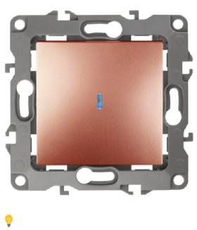 Выключатель с подсветкой, 10АХ-250В, Эра12, медь 12-1102-14