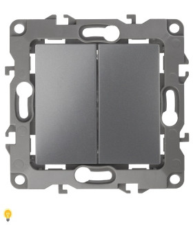 Выключатель двойной, 10АХ-250В, Эра12, графит 12-1104-12