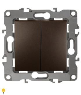 Выключатель двойной, 10АХ-250В, Эра12, бронза 12-1104-13