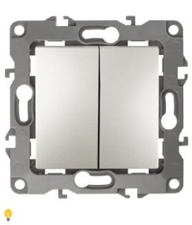 Выключатель двойной, 10АХ-250В, Эра12, перламутр 12-1104-15