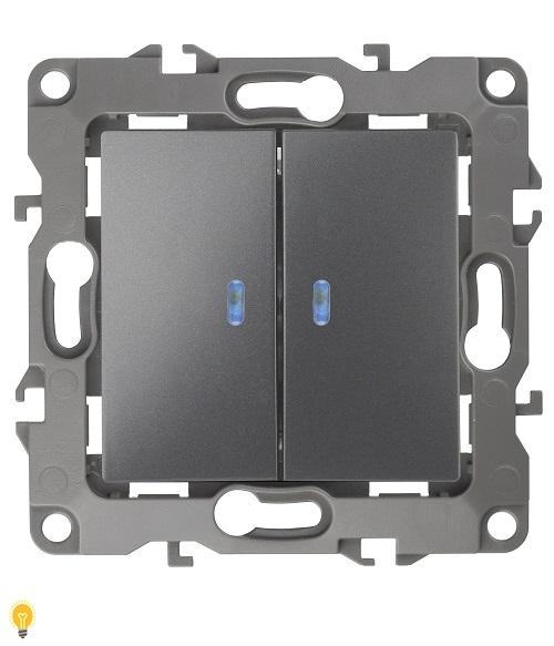 Выключатель двойной с подсветкой, 10АХ-250В, Эра12, графит 12-1105-12
