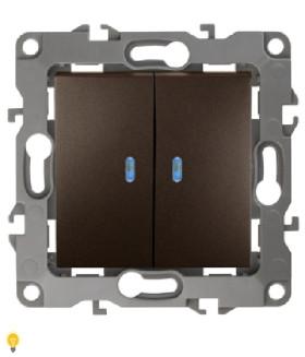 Выключатель двойной с подсветкой, 10АХ-250В, Эра12, бронза 12-1105-13