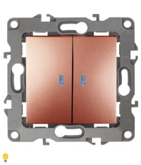 Выключатель двойной с подсветкой, 10АХ-250В, Эра12, медь 12-1105-14