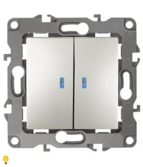 Выключатель двойной с подсветкой, 10АХ-250В, Эра12, перламутр 12-1105-15