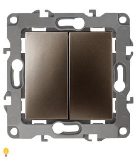 Переключатель двойной, 10АХ-250В, Эра12, бронза 12-1106-13