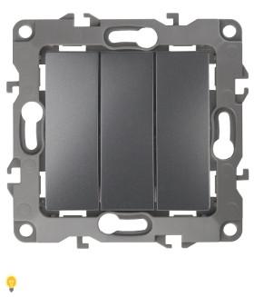 Выключатель тройной, 10АХ-250В, Эра12, графит 12-1107-12