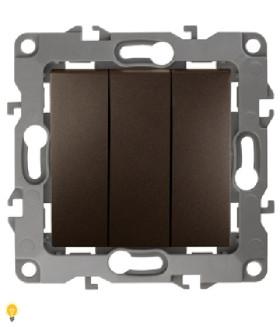 Выключатель тройной, 10АХ-250В, Эра12, бронза 12-1107-13