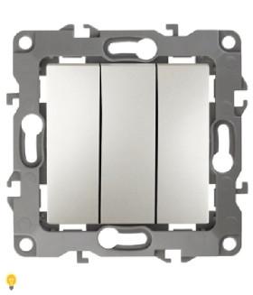 Выключатель тройной, 10АХ-250В, Эра12, перламутр 12-1107-15