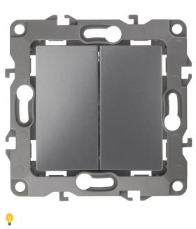 Выключатель двойной, 10АХ-250В, без м.лапок, Эра12, графит 12-1004-12