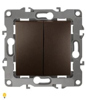 Выключатель двойной, 10АХ-250В, без м.лапок, Эра12, бронза 12-1004-13