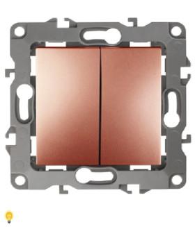 Выключатель двойной, 10АХ-250В, без м.лапок, Эра12, медь 12-1004-14