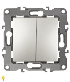 Выключатель двойной, 10АХ-250В, без м.лапок, Эра12, перламутр 12-1004-15