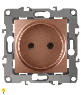 Розетка 2P, 16АХ-250В, Эра12, медь 12-2105-14