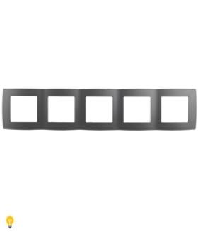 Рамка на 5 постов, Эра12, графит 12-5005-12