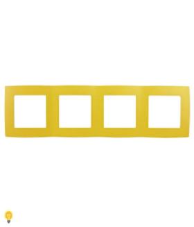 Рамка на 4 поста, Эра12, жёлтый 12-5004-21