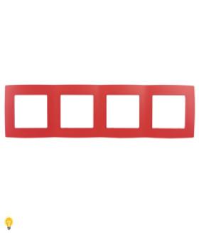 Рамка на 4 поста, Эра12, красный 12-5004-23