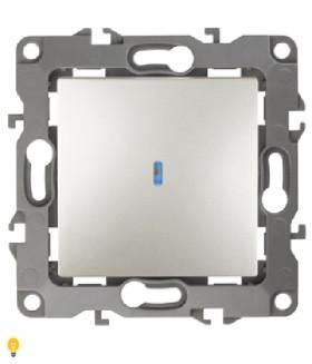 Выключатель с подсветкой, 10АХ-250В, Эра12, перламутр 12-1102-15