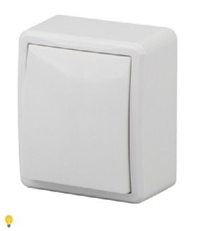 Выключатель, 10АХ-250В, ОУ, Эра Эксперт, белый 11-1201-01